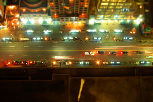photo of the view from atop a tall building ledge