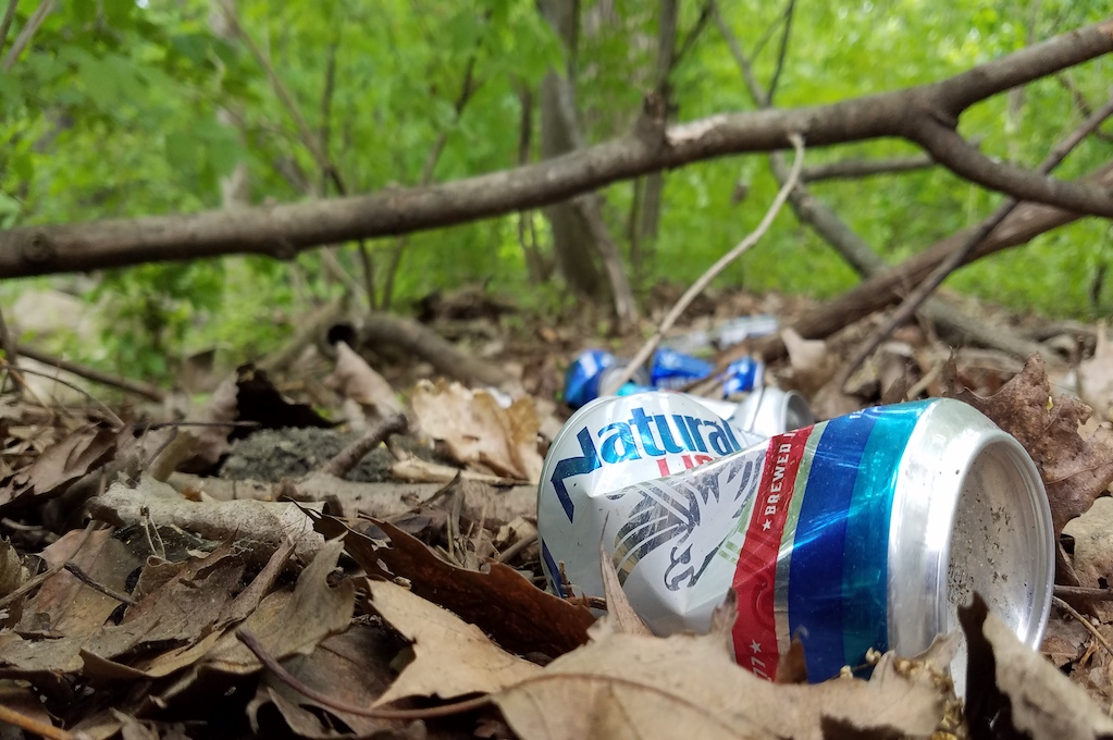 photo of discarded beer can