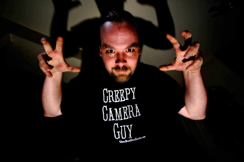 photo of man making creepy face