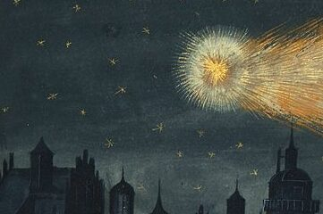 old illustration of a comet in the night sky