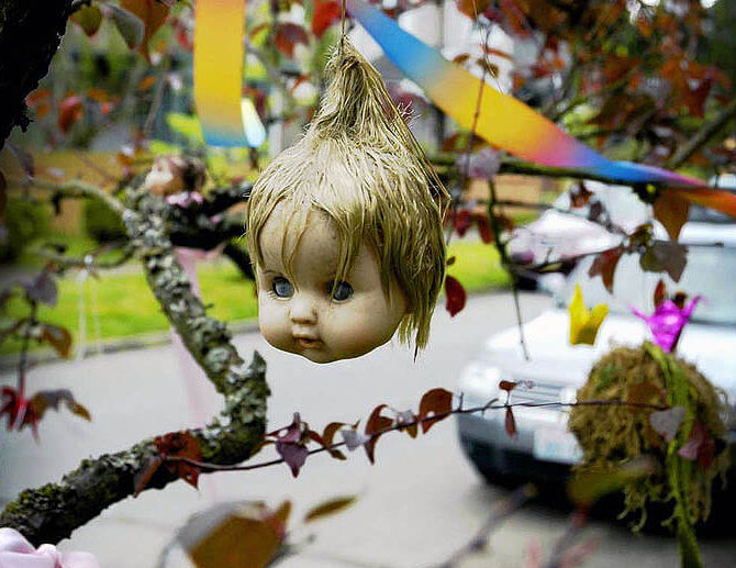 photo of a doll's head hanging fom tree limb