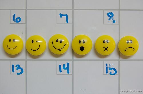 emoticon push pins on dry erase board