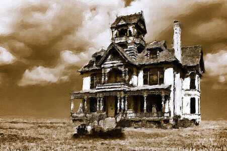 old house in wheat field