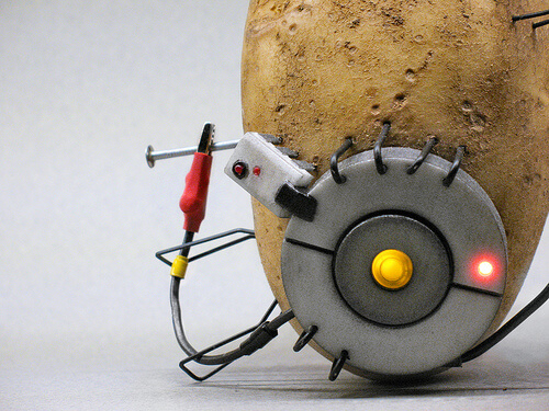 photo of potato with wires attached