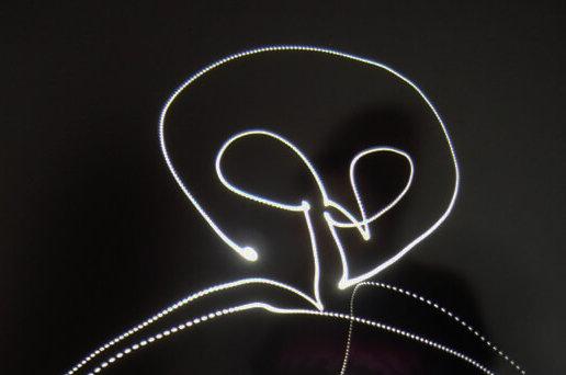 Neon outline of an alien