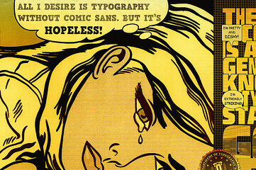 illustration using various fonts and pop art