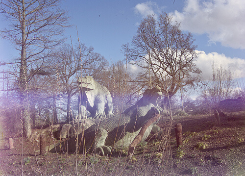 photo of Iguanodon sculptures