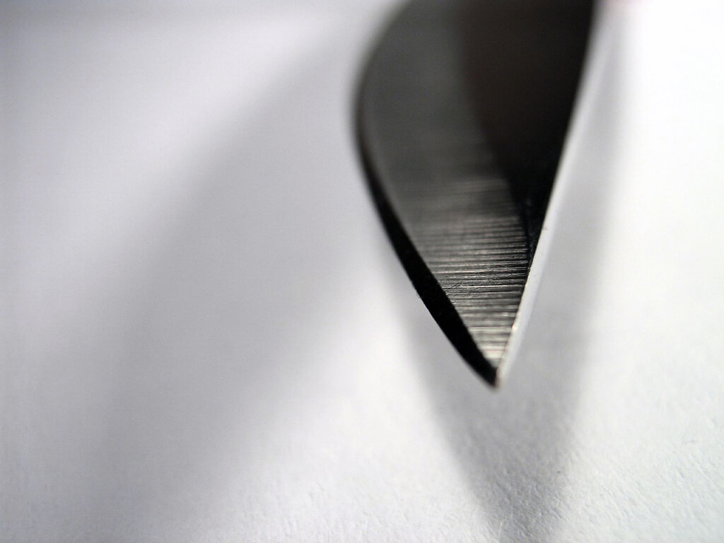 photo of a knife's tip