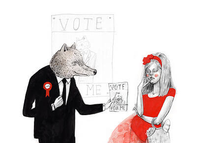 Little Red Riding Hood with wolf illustration