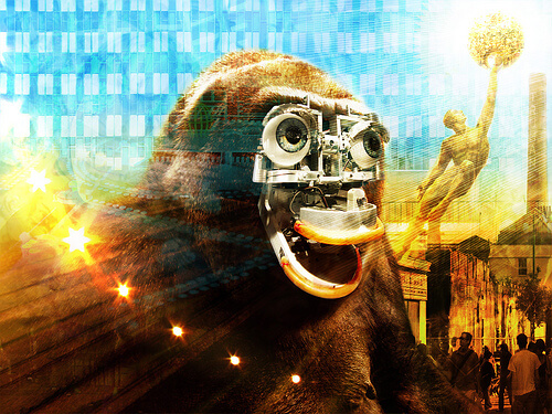 image of a gorilla with a robot face