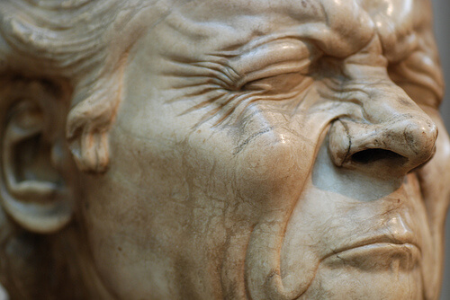 photo of a statue's face