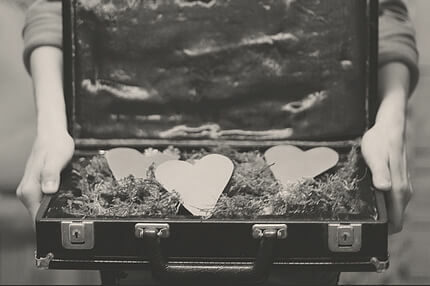 photo of hearts in a briefcase