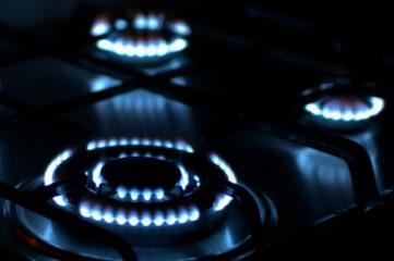 photo of gas burning stove