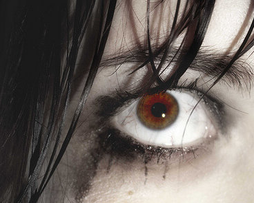 photo of an eye with runny mascara