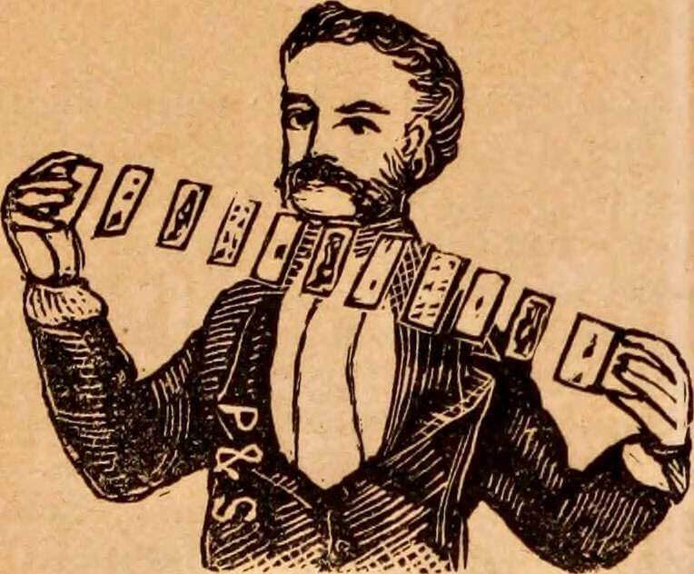vintage illustration of magician performing card trick