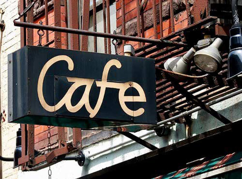 photo of cafe sign