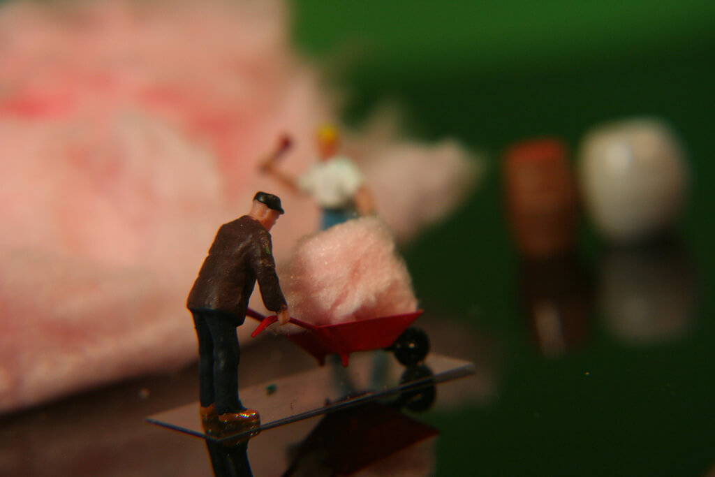 photo of cotton candy and miniature figures