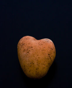 photo of heart-shaped potato