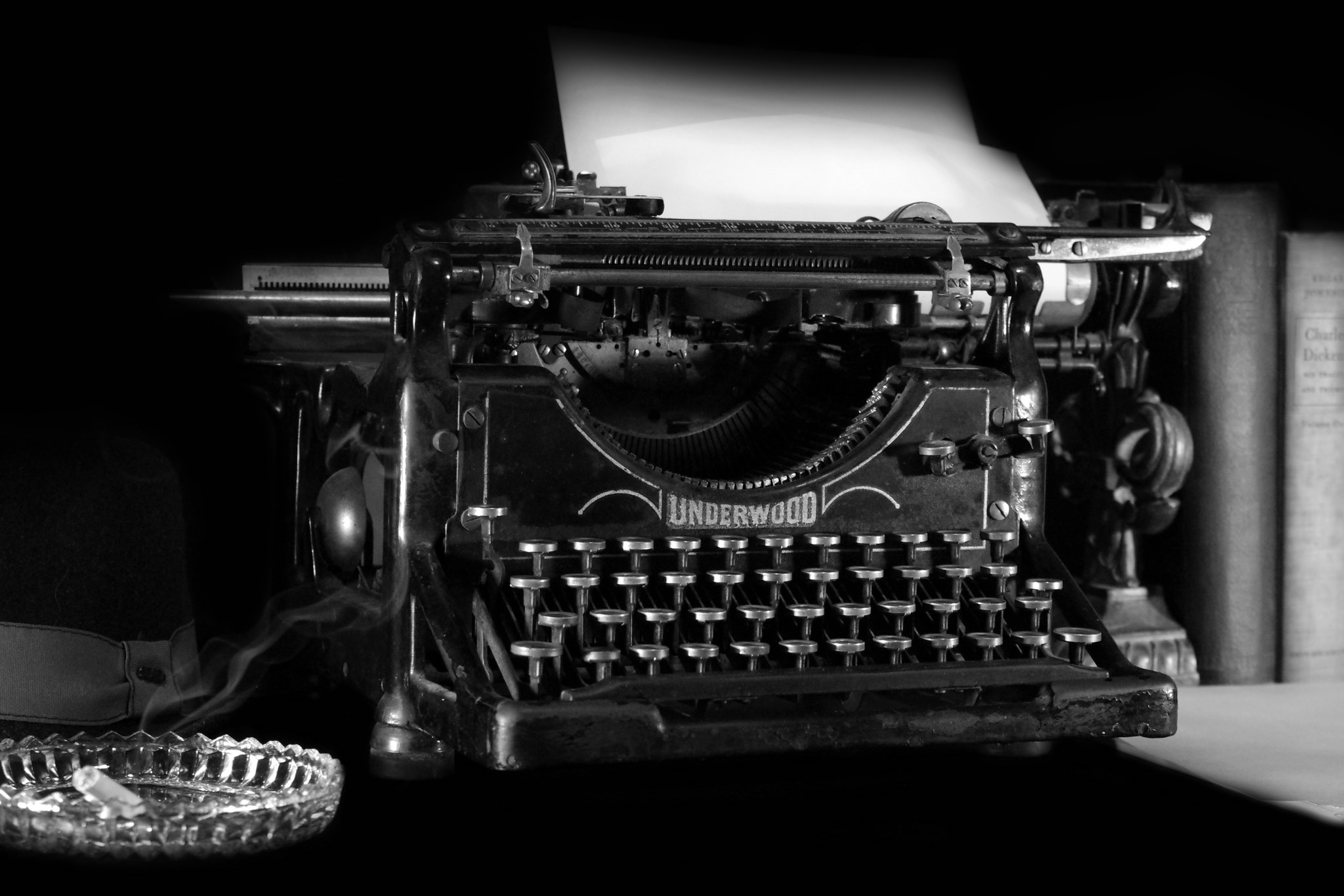 black and white photo of vintage typewriter