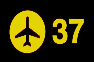 black and yellow sign with airport symbol and gate number