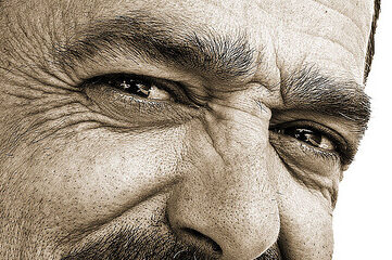 photo of a man's wrinkled face