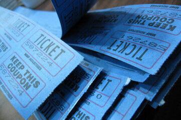 photo of blue raffle tickets