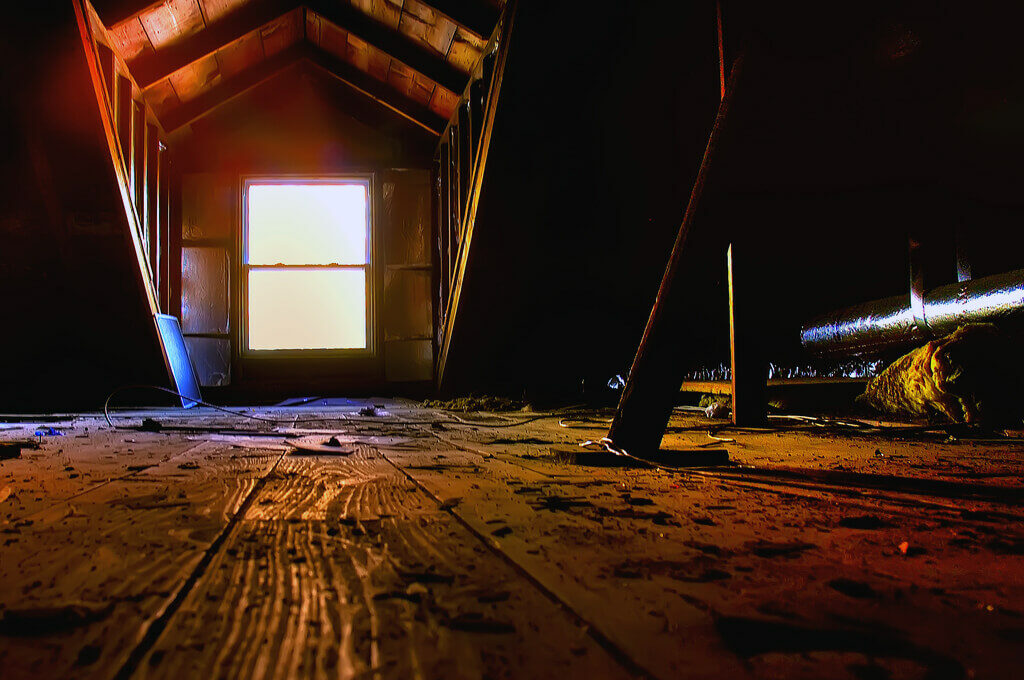 photo of an attic from a home built in 1935
