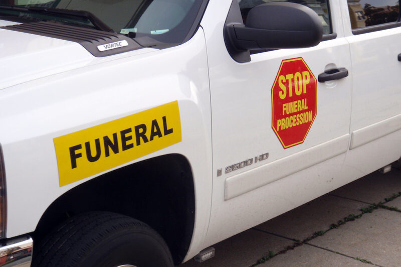 photo of funeral procession vehicle