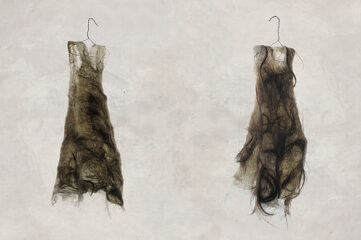 photo of two garments made out of hair