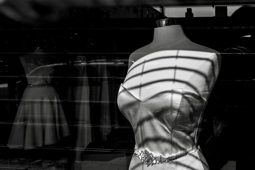 photo of dress on a mannequin in store window
