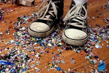 photo of shoes standing in confetti